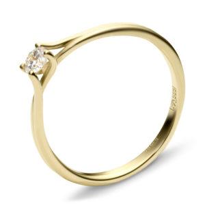 Кольцо с 1 фианитом из жёлтого золота (ж-20к)