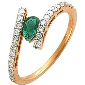 Кольцо с 24 бриллиантами, изумрудом из красного золота (арт. ж-8719к)