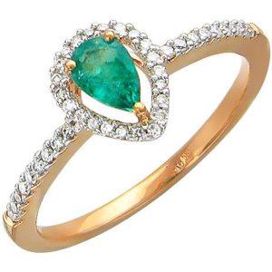 Кольцо с 40 бриллиантами, изумрудом из красного золота (арт. ж-8714к)