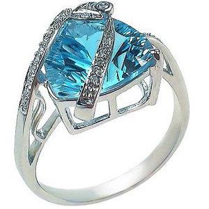 Кольцо с 21 бриллиантами, 1 топазом из белого золота (арт. ж-8707к)
