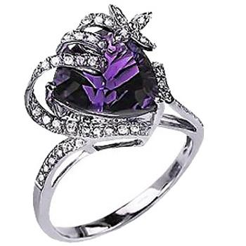 Распрекрасное кольцо с 1 аметистом, 43 бриллиантами из белого золота (арт. ж-8703к)