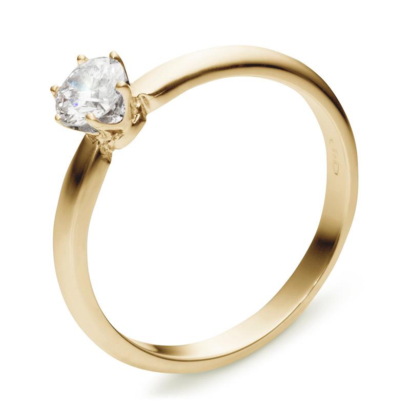 Классическое кольцо с бриллиантом 0.3 карат из желтого золота (арт.ж-8562к)