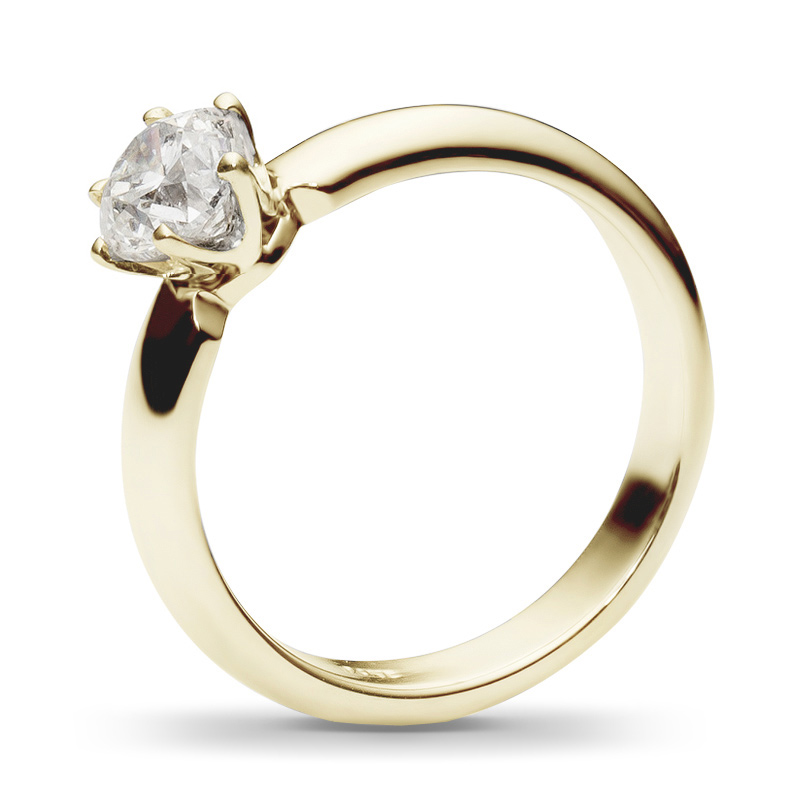 Классическое кольцо с бриллиантом 0.7 карат из желтого золота (арт.ж-8544к)