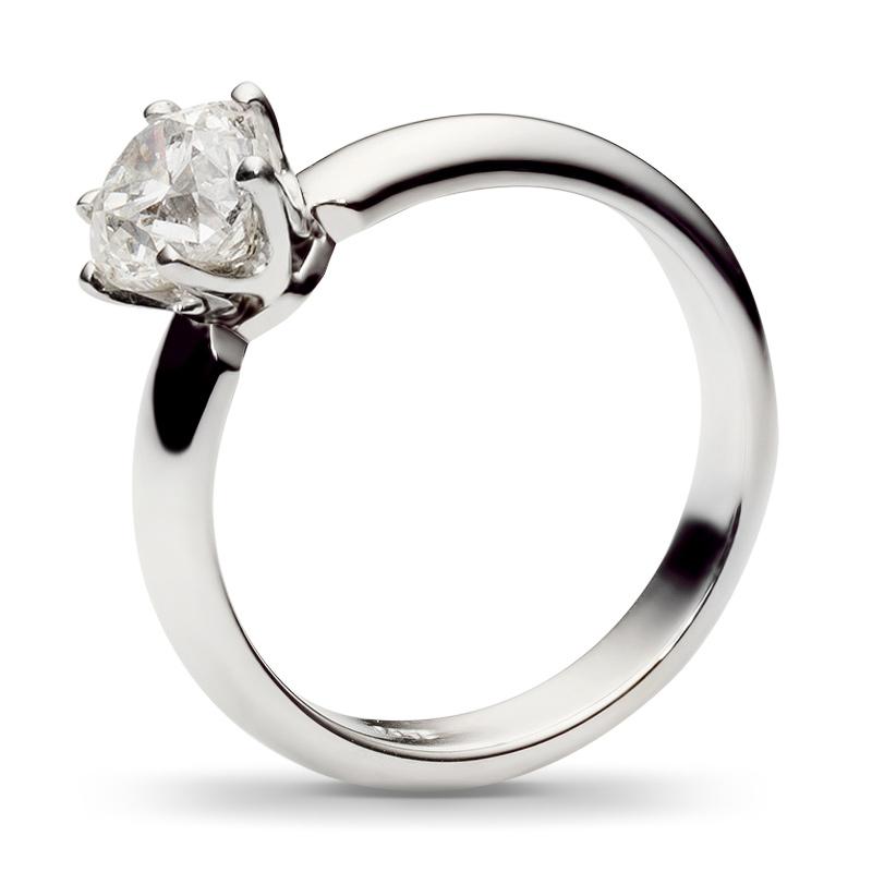 Классическое кольцо с бриллиантом 2 карата из белого золота (арт.ж-8535к)