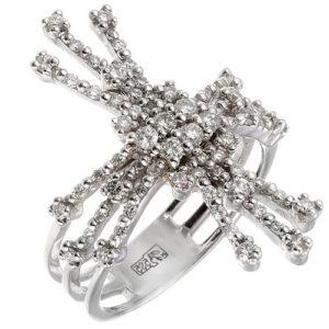 Кольцо с бриллиантами из белого золота (ж-16к)