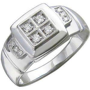 Кольцо с фианитами из серебра (ж-28к)