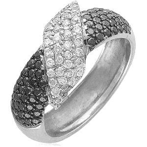 Элегантное кольцо с 100 бриллиантами из белого золота 750 пробы (арт. ж-8622к)