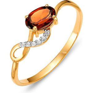 Кольцо с гранатом и фианитами из красного золота (арт. ж-8357к)