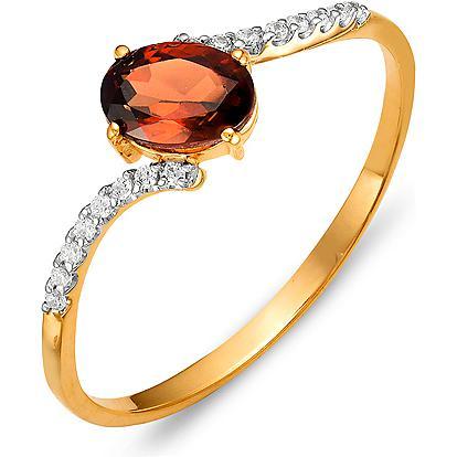 Кольцо с гранатом и фианитами из красного золота (арт. ж-8369к)