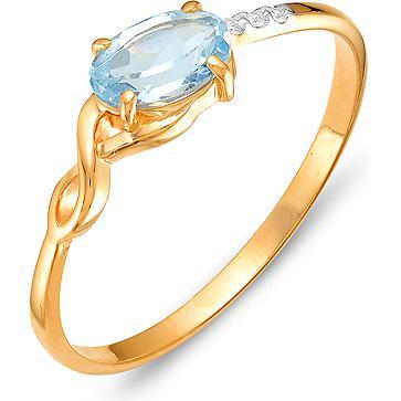 Кольцо с топазом и фианитами из красного золота (арт. ж-8365к)