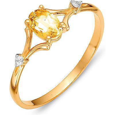 Кольцо с цитрином и фианитами из красного золота (арт. ж-8371к)