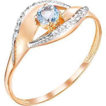 Кольцо с топазом и фианитами из красного золота (арт. ж-8372к)