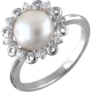 Кольцо с жемчугом и фианитами из серебра (ж-33к)