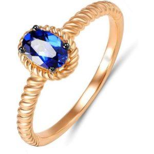 Кольцо с 1 сапфиром из красного золота (арт. ж-9322к)