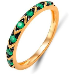 Кольцо с 7 изумрудами из красного золота (арт. ж-9513к)