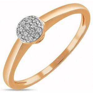 Кольцо с 15 бриллиантами из красного золота (арт. ж-7655к)