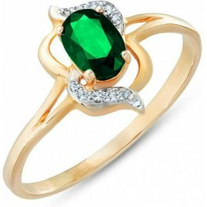 Кольцо с изумрудом и бриллиантами из красного золота (арт.ж-9276к)