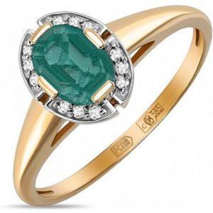 Классическое кольцо с большим изумрудом и бриллиантами из красного золота (арт. ж-9713к)