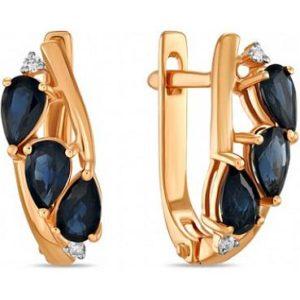 Кольцо с сапфирами и бриллиантами из красного золота (арт.ж-9242к)
