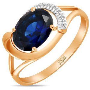 Кольцо с сапфиром и бриллиантами из красного золота (арт. ж-9327к)