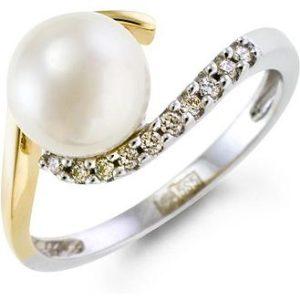 Кольцо с жемчугом и бриллиантами из красного золота (арт.ж-9065к)