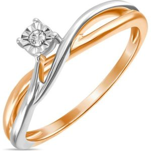 Кольцо с 1 бриллиантом из красного золота (арт. ж-7644к)