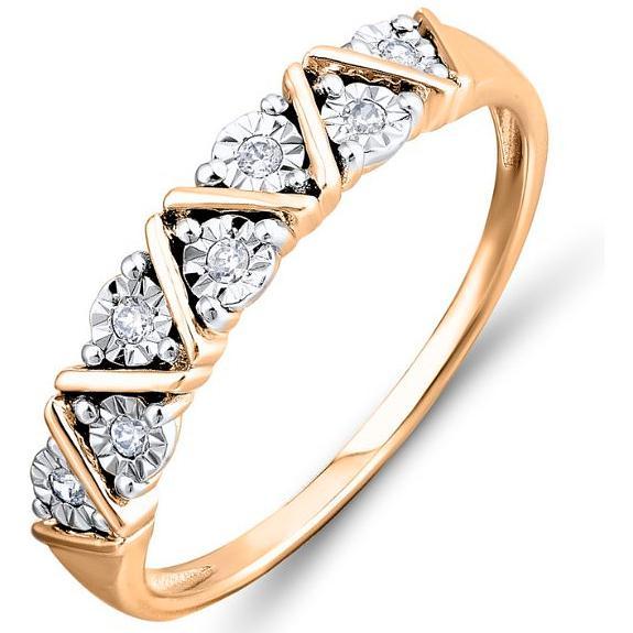 Кольцо с 7 бриллиантами из красного золота (арт. ж-9325к)