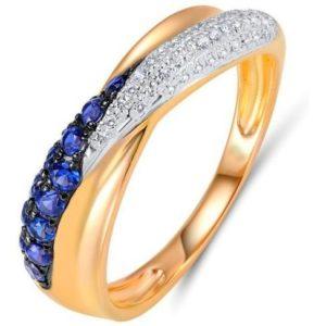 Кольцо с сапфирами и бриллиантами из красного золота (арт. ж-7641к)