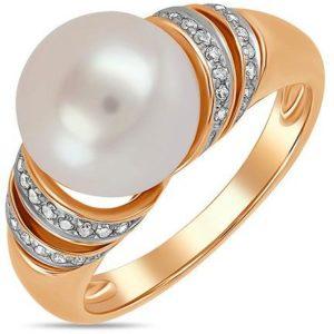 Кольцо с жемчугом и бриллиантами из белого золота (арт. ж-9675к)