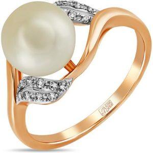 Кольцо с жемчугом и бриллиантами из красного золота (арт. ж-9095к)