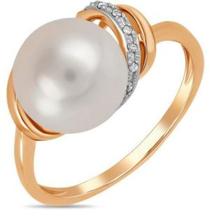 Кольцо с жемчугом и бриллиантами из красного золота (арт.ж-9478к)