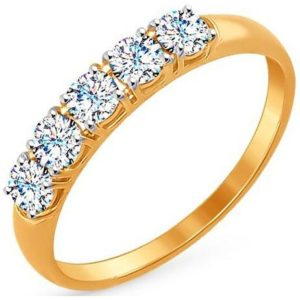 Кольцо с 5 фианитами из красного золота (арт.ж-9704к)