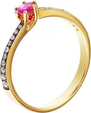 Кольцо с рубином и бриллиантами из белого золота (ж-19к)