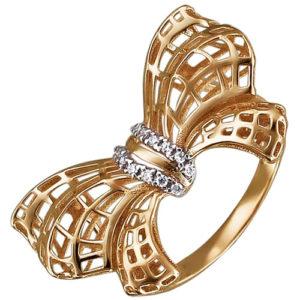 Кольцо Бантик с фианитами из красного золота (арт. ж-8406к)