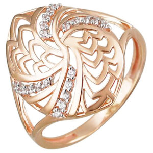 Кольцо с фианитами из красного золота (арт.ж-8585к)