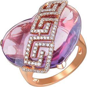 Кольцо Сердце с аметистом и бриллиантами из комбинированного золота 750 (арт. ж-7771к)
