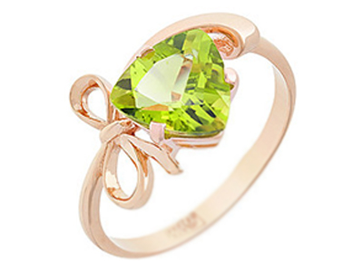 женское кольцо с хризолитом