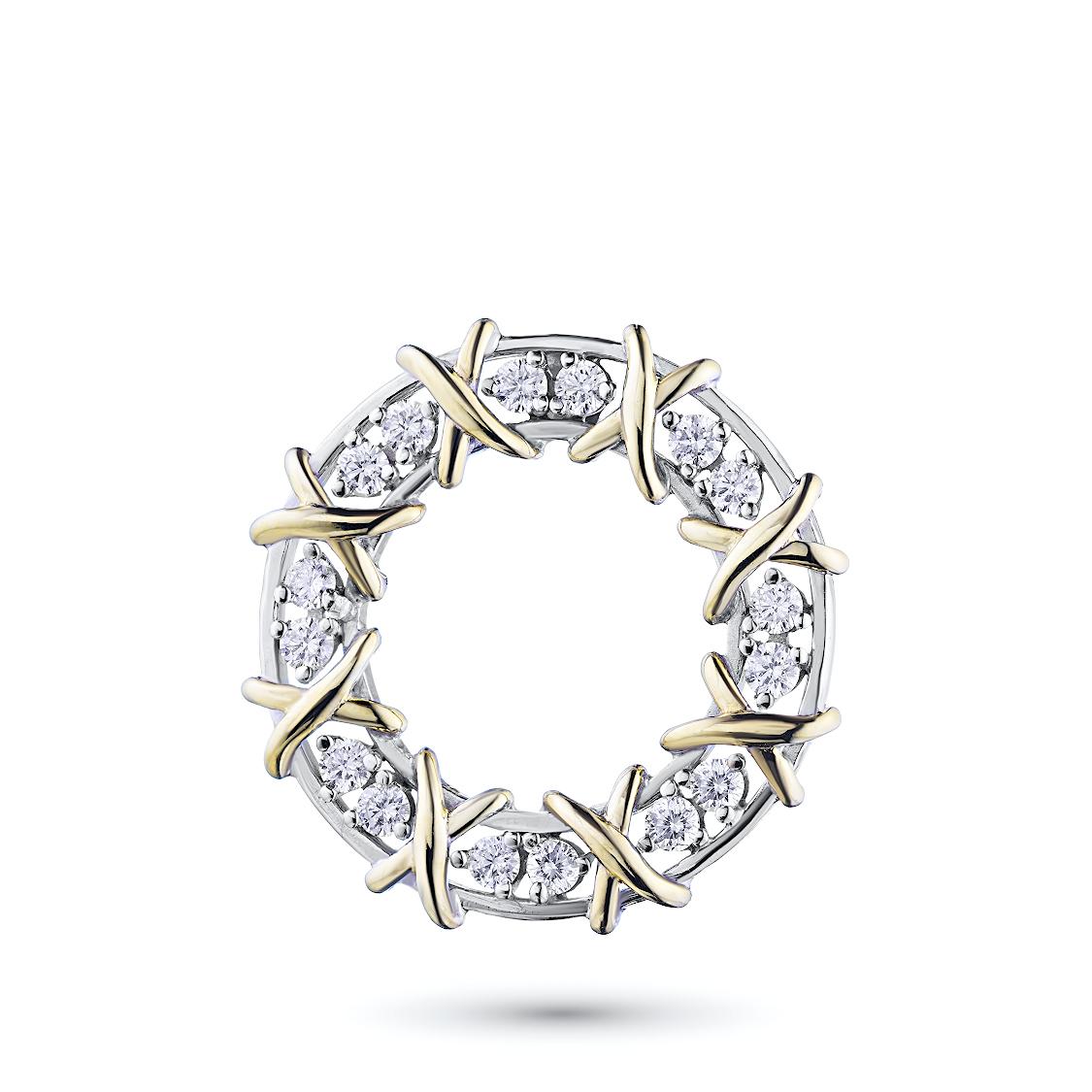 Классическая подвеска из комбинированного золота с бриллиантами
