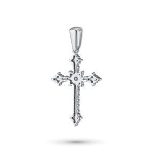 Крест подвеска из белого золота с бриллиантами