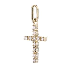 Крестик подвеска из желтого золота с бриллиантами