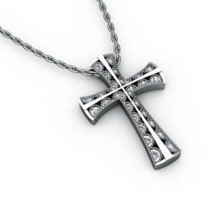 Серебряный крестик с бриллиантами