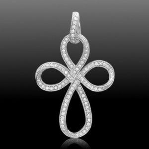 Серебряный крестик с россыпью камней