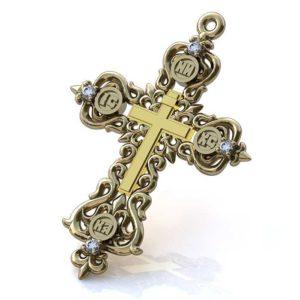 Золотой крест 750 пробы с бриллиантами