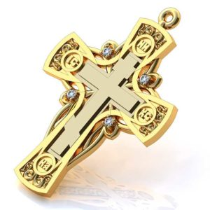 Золотой крест без распятия с 4 бриллиантами