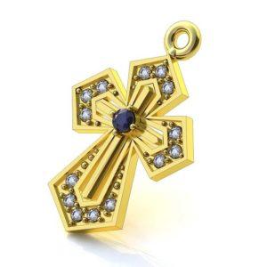 Золотой крест большим сапфиром и 14 бриллиантов