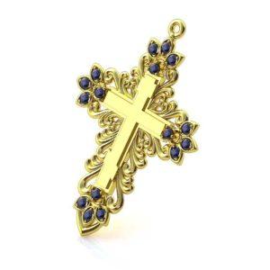 Золотой крест с 16 сапфирами