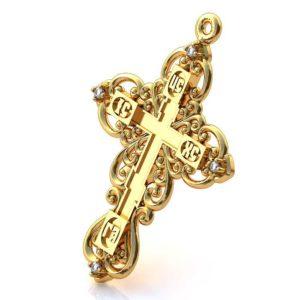 Золотой крест с драгоценными камнями