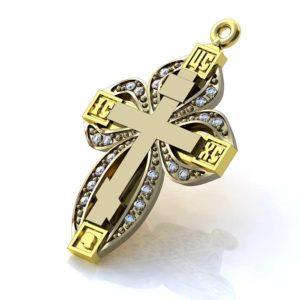 Золотой крестик с 20 бриллиантами