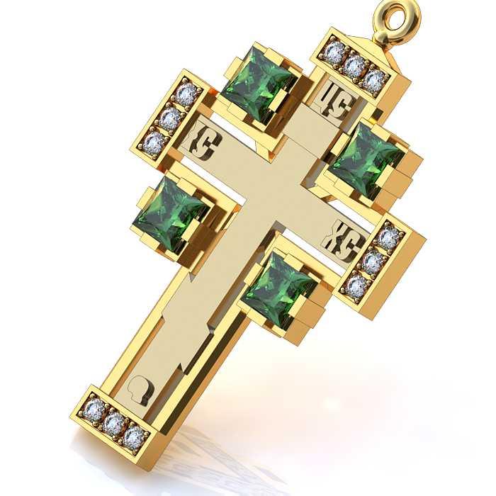 Золотой крестик с 4 изумрудами и 12 бриллиантов