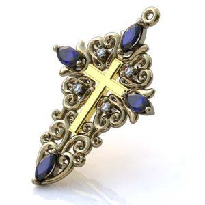 Золотой крестик с сапфирами и бриллиантами